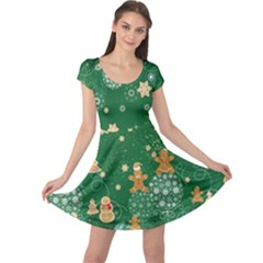 Green Stars Cap Sleeve Dress