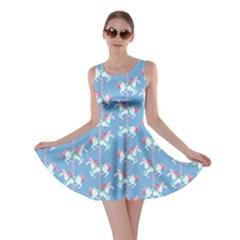Light Blue Carousel Horses Pattern Skater Dress