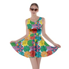 Green Top Of Colorful Umbrellas Pattern Skater Dress