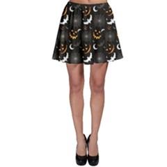 Black Halloween Horror Symbols Pattern Available Skater Skirt