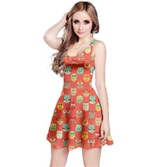 Brown Red Pattern with Owls Pattern Sleeveless Skater Dress