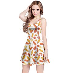 Colorful Corn Dog with Ketchup and Mustard Seamless Sleeveless Skater Dress