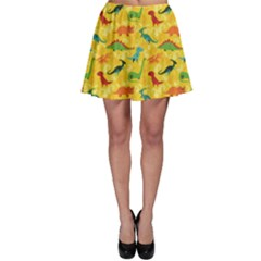 Yellow Cartoon Dinosaur Pattern Skater Dress