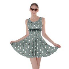 Blue Pattern With Little Cute Penguins On Blue Skater Dress