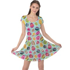 Colorful Easter Eggs Pattern Cap Sleeve Dress