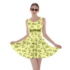 Yellow Kitten Lovely Cats Pattern Skater Dress
