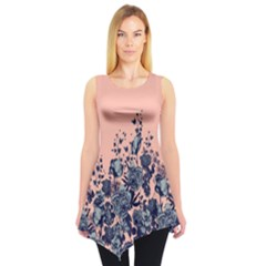 Coral Floral Sleeveless Tunic Top