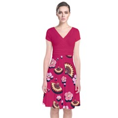 Blossom Red Japanese Style Cherry Blossom Short Sleeve Front Wrap Dress