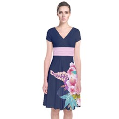 Navy Blossom Japanese Style Cherry Blossom Short Sleeve Front Wrap Dress