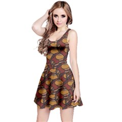 Brown African Ethnic Colorful Pattern Sleeveless Skater Dress