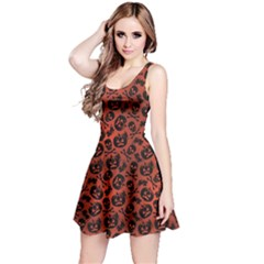 Brown Halloween with Pumpkin and Skeleton Pattern Sleeveless Skater Dress