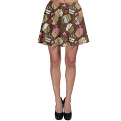 Colorful Pattern Of Tasty Cupcakes Skater Skirt