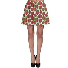 Red Pattern With Strawberries Graphic Stylized Drawing Skater Skirt
