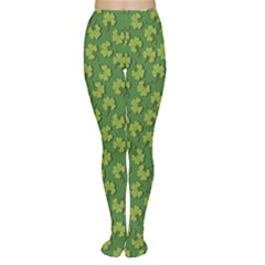 Green Clover Pattern For St Patricks Day Women s Tights