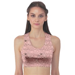 Pink Pattern with Cats Women s Sport Bra