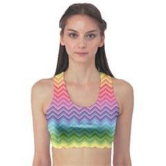 Colorful Chevron Rainbow Colored Pattern Women s Sport Bra