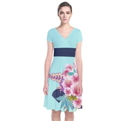 Mint Blossom Japanese Style Cherry Blossom Short Sleeve Front Wrap Dress