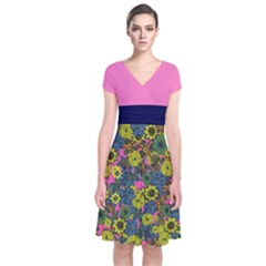 Yellow & Pink Floral Short Sleeve Front Wrap Dress