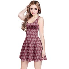 Wine Vintage Bicycles Outline Pattern Sleeveless Dress