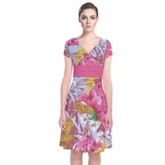 Pink Roses Short Sleeve Front Wrap Dress