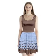 Brown Triangle Split Back Mini Dress