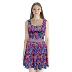 Violet Floral Split Back Mini Dress