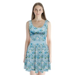 Light Blue Floral 4 Split Back Mini Dress