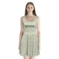 Light Green Floral 2 Split Back Mini Dress