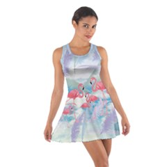 Flamingo Feather  Sky Cotton Racerback Dress