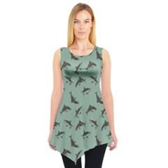 Turquoise Pattern Sharks Sleeveless Tunic Top
