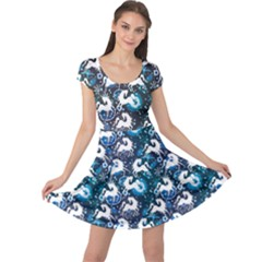 Blue White Horse On A Blue Ornamental Cap Sleeve Dress