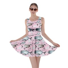 Purple Graphic Pattern Of Whales And Jellyfish On A Pink Skater Dress
