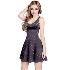 Blue Pattern Star Heart in Night Sky Sleeveless Skater Dress