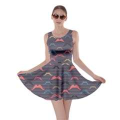 Purple Vintage Pattern with Mustache and Stripes Retro Style Skater Dress