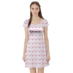 Pink Cute Pig Pattern with Pink Pig Faces Short Sleeve Skater Dress