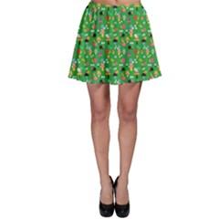 Green Snails Mushrooms Pattern Skater Skirt