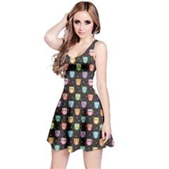 Black Pattern With Colorful Owls On Dark Sleeveless Dress