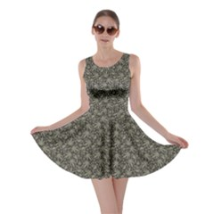 Dark Cannabis Leafs With Skulls Pattern Skater Dress