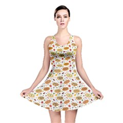 Colorful Pattern With Different Pizza And Spices Reversible Skater Dress