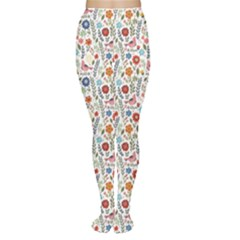 Yellow Floral Flowers Plants Pattern Tights