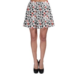 Black Death Pattern Skater Skirt
