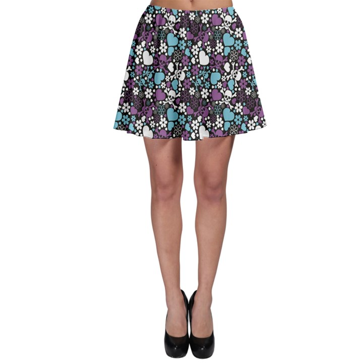 Purple Flowers Skulls and Hearts Pattern Skater Skirt