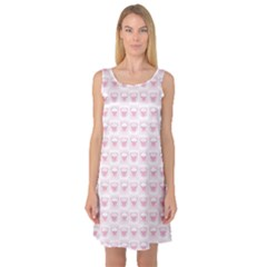 Pink Cute Pig Pattern with Pink Pig Faces Sleeveless Satin Nightdress