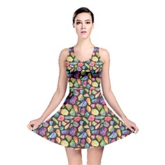 Colorful Colorful Watercolor Gem Pattern Reversible Skater Dress