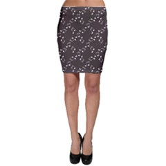 Black Music Elements Notes Web Flat Design Gray Pattern Bodycon Skirt