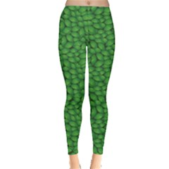 Green Green Basil Leaves in A Pattern Women s Leggings