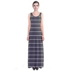 Gray Stripes Sleeveless Maxi Dress