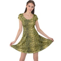 Green Leather Animal Snake Reptile Crocodile Pattern Cap Sleeve Dress