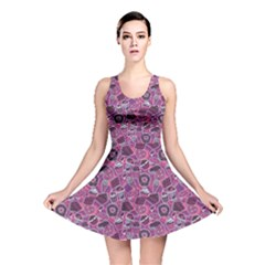 Purple Pattern with Sweet Food Cakes Chocolate Icecream Reversible Skater Dress