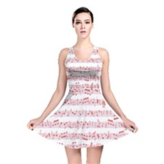 Pink Music Heart Note Sound Love With Shadow Valentine Reversible Skater Dress